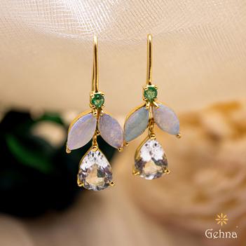 Refreshing Opal, Emerald, Aquamarine Gold Earrings