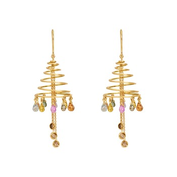 Sprightly Sapphire and Diamond Gold Danglers