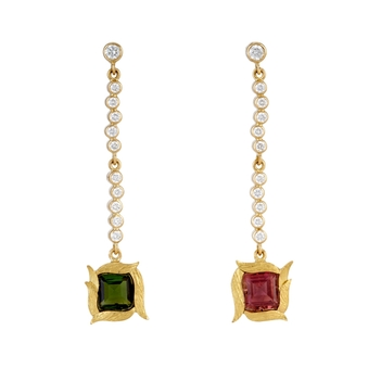 Offbeat Diamond and Tourmaline Gold Danglers