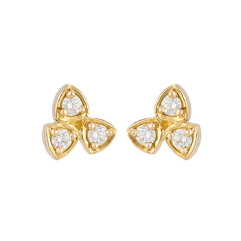 Structured Diamond and 18K Gold Stud Earrings
