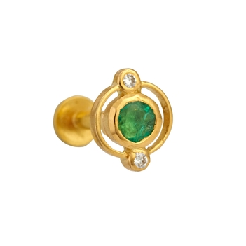 Vibrant Emerald and Diamond Nosepin 22k Gold
