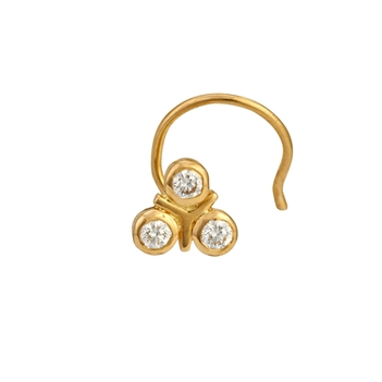 Clover Diamond Nosepin in 22K Gold