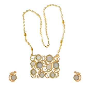 Quirky Silver, Gold, Pearl and Diamond Necklace Set