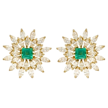Marquise Diamond and Emerald 18K Gold Stud Earrings