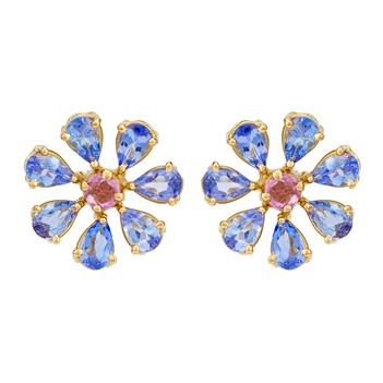 Swanky Tanzanite and Pink Sapphire 18k Gold Stud Earrings