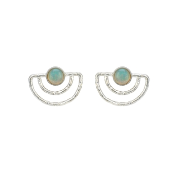 Rustic Ethiopian White Opal 925 Sterling Silver Studs