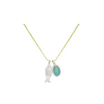 Charming Ethiopian Opal and 925 Sterling Silver Pendant with Cotton Thread