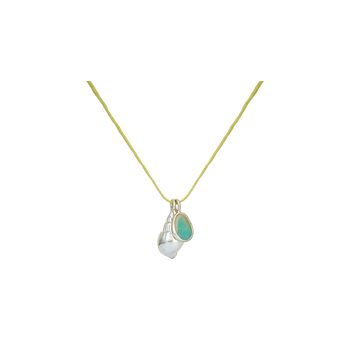 Dainty Opal and Pearl 925 Sterling Silver Pendant with Cotton Thread