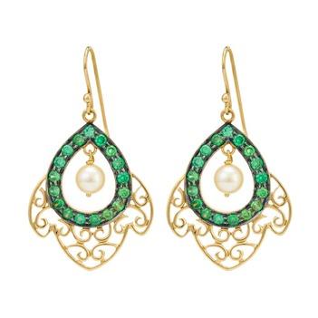 Theatric Tsavorite, Pearl and 18k Gold Drop Earrings