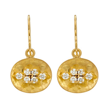Novel 18k Gold and Diamond Drop Earrings