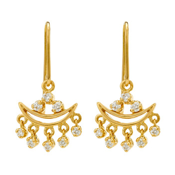 Riveting Diamond and 18K Gold Drop Earrings
