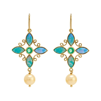 Mystical Opal, Emerald, Pearl 18k Gold Dangler Earrings