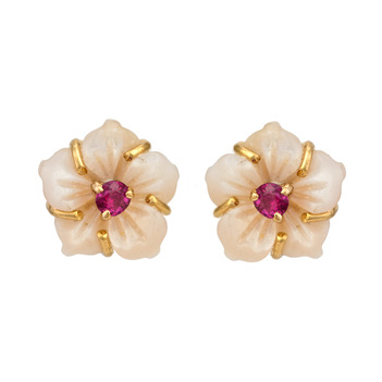 Sublime Mother of Pearl, Ruby and 18k Gold Stud Earrings
