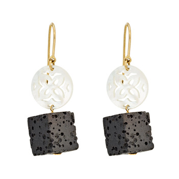 Stark Mother of Pearl 18k Gold Drop Earrings