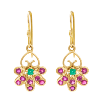 Aesthetic Ruby and Emerald Earrings