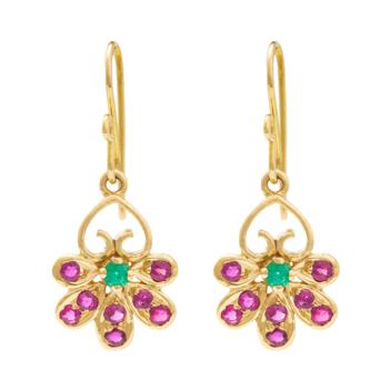 Aesthetic Ruby and Emerald Earrings