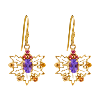 Vivid Sapphire and Amethyst 18K Gold Earrings