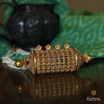 Natural Pearl Filigree 22K Gold Necklace