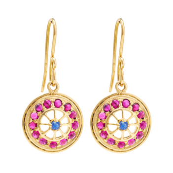 Admirable Ruby and Blue Sapphire Earrings