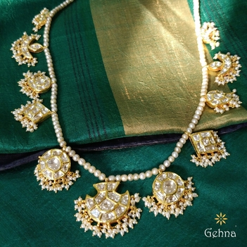 Stately Basra Pearls and Polki Diamond Necklace Set