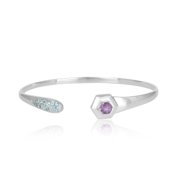Sparkling Topaz, Amethyst and 925 Sterling Silver Bangle