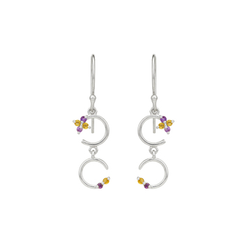 Playful Amethyst, Citrine and 925 Sterling Silver Earrings