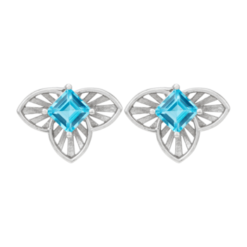 Charming Blue Topaz and 925 Sterling Silver Studs