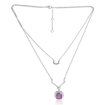 Delicate Blue Topaz and Amethyst Sterling Silver Double Stranded Pendant with Chain