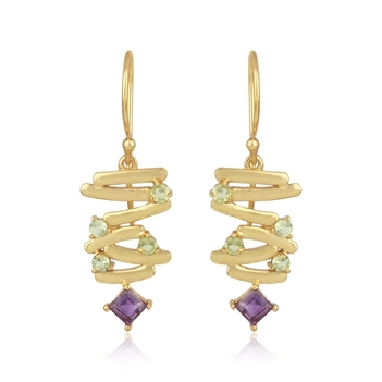Artistic Amethyst, Peridot and 925 Sterling Silver Earrings