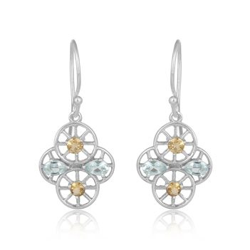 Whorled Citrine, Topaz and 925 Sterling Silver Earrings