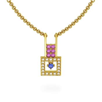 Sensational Pink Sapphire, Blue Sapphire,18K Gold Diamond Pendant with Chain