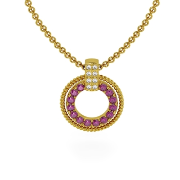 Trendy Ruby and Diamond Pendant in 18K Gold with Chain