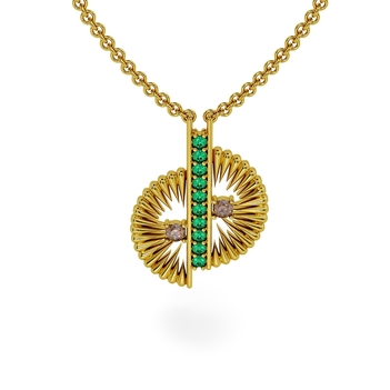 18K Gold Offbeat Emerald and Diamond Pendant with Chain