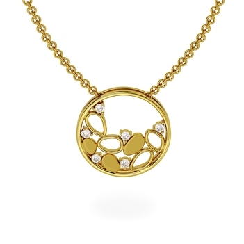 18K Gold Artistic Diamond Pendant with Chain