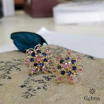 18K Gold Ornate Pink and Blue Sapphire Stud Earrings