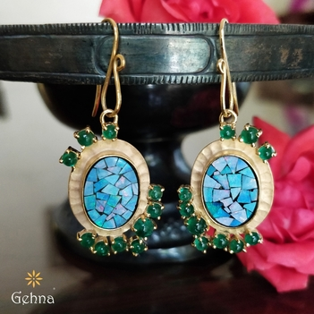 Fantastical Opal and Emerald Earrings