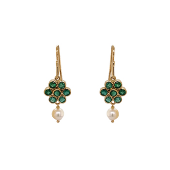 Flower Shaped Emerald & Pearl Earring