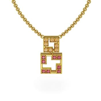 Tetris Sapphire Pendant with Chain