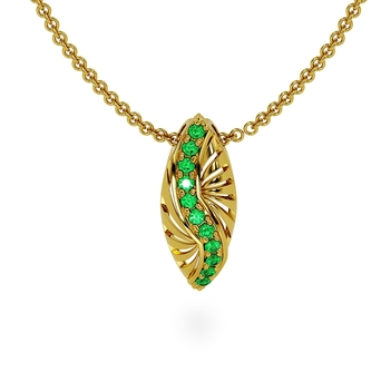 Artistic Tsavorite Pendant with Chain