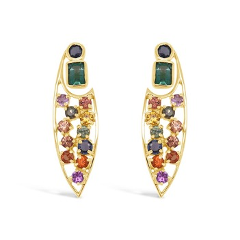 Psychedelic Emerald and Sapphire Earrings
