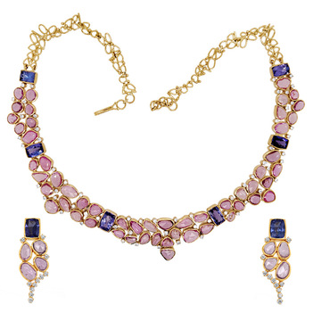 Electrifying Pink Sapphire, Tanzanite and Diamond Necklace Set
