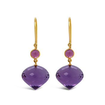 Angelic Pink Tourmaline, Amethyst Earrings
