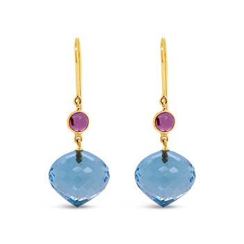 Breathtaking Pink Tourmaline, Blue Topaz Earrings