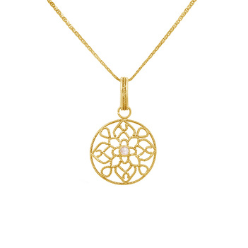Latticed Diamond and 18K Gold Pendant