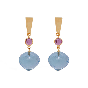 Cherubic Pink Tourmaline, Blue Topaz Gold Earrings