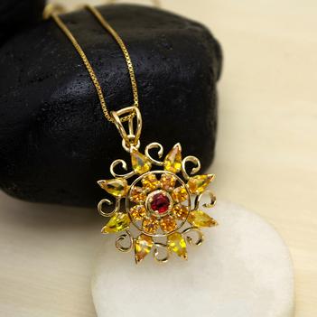 Fiery Sapphire Mandala Pendant