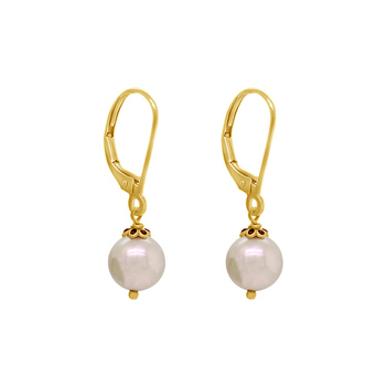 Graceful Pearl and Red Enamel Drop Earrings