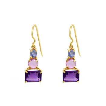 Effulgent Sapphire and Amethyst Hook Earrings