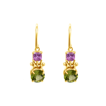 Jazzy Peridot and Pink Sapphire Hook Earrings