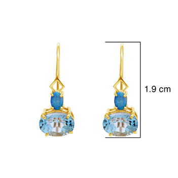 Icy Opal and Blue Topaz 18K Gold Earrings